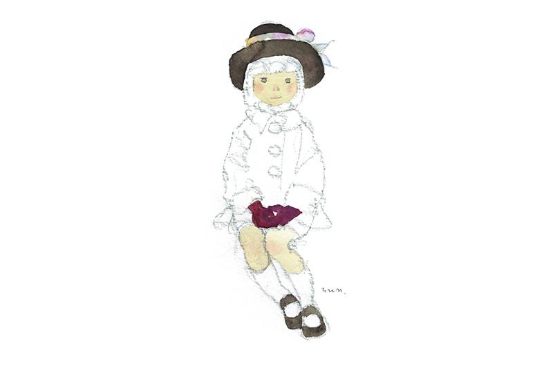 安曇野ちひろ美術館_こげ茶色の帽子の少女